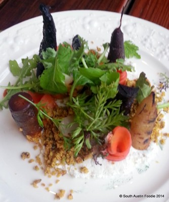 Forest of carrots over chevre, pistachio crumble