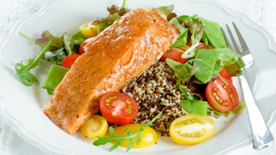Quick-Cured Sake Salmon with Quinoa